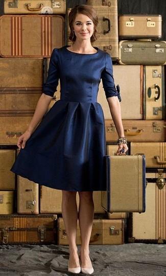 Vestido azul marino combinar zapatos