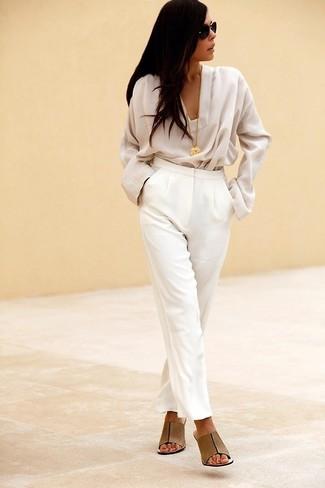 Pantalón de vestir blanco de The Row
