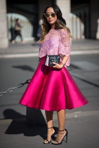 c350bc1f5 Cómo combinar una falda campana rosa (24 looks de moda) | Moda para ...