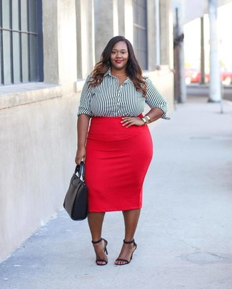 c13035efcbfe Cómo combinar una falda lápiz roja (53 looks de moda)   Moda para ...