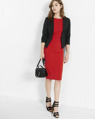 Vestido rojo con chaqueta negra