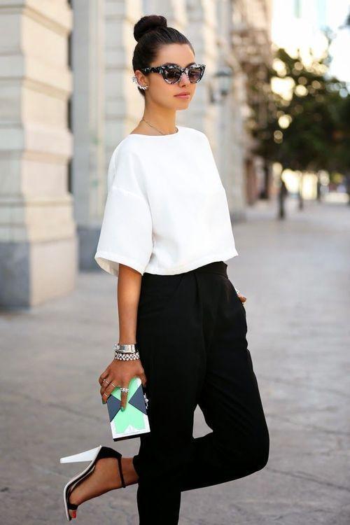 Negro3 Corto Con Combinar Un Cómo Top Pantalón De Blanco Pinzas N80wnvOm