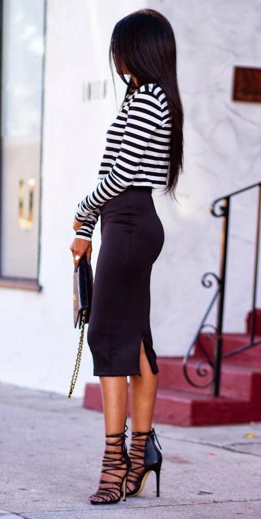 De Vestir Con Falda Negra6 Looks Una Sandalias Unas Planas Lápiz R5AjL34