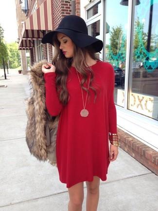 Cómo combinar un sombrero de lana negro con un vestido recto rojo (4 ... 04735caa531