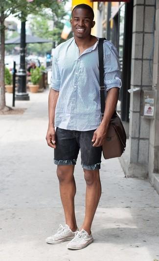 Camisa de manga larga de rayas verticales celeste de Gucci