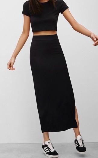 1e8c2d65e Cómo combinar una falda larga negra (83 looks de moda)   Moda para ...