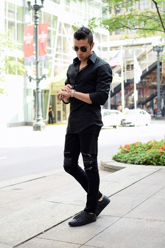 Camisa de manga larga negra de Calvin Klein