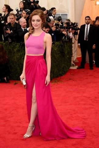 Top corto rosado falda larga rosa sandalias de tacon plateadas cartera sobre dorada large 2269