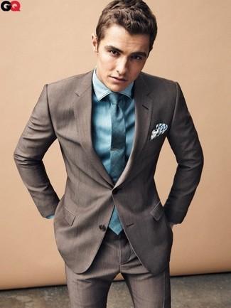 Traje en marron oscuro camisa de vestir en verde azulado corbata en verde azulado large 1431