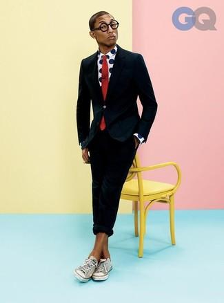 de Traje negro Pharrell de Camisa a Look larga Williams manga 6qZFZw