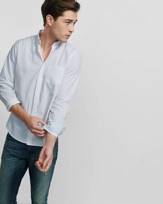 Camisa de manga larga estampada blanca de Paul Smith
