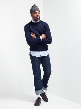 Combinar unos calcetines blancos: Usa un jersey con cuello circular azul marino y unos calcetines blancos transmitirán una vibra libre y relajada. Zapatos derby de cuero en marrón oscuro dan un toque chic al instante incluso al look más informal.