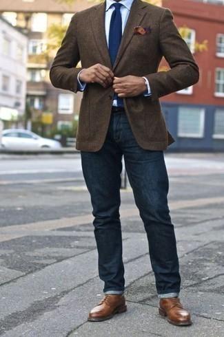 Zapatos derby de cuero marrónes de Crockett Jones