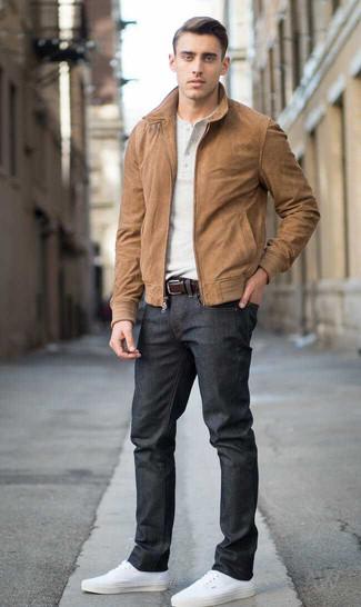 Cazadora de aviador de ante marrón de Salvatore Santoro