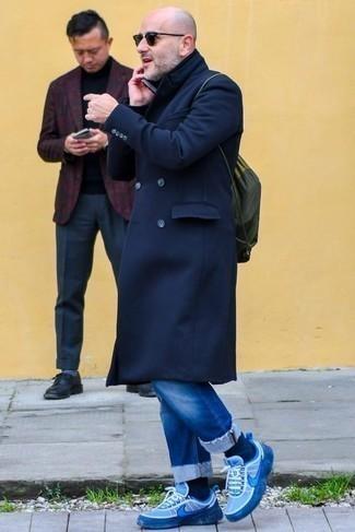 Abrigo largo azul marino de London Fog
