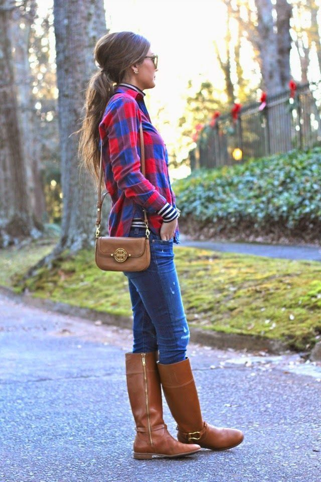 Come e look indossare Messico una scozzese Lookastic per modaModa con blu blu elegante camicia alla donne aderenti scuro4 rossa le jeans 80OkwnP