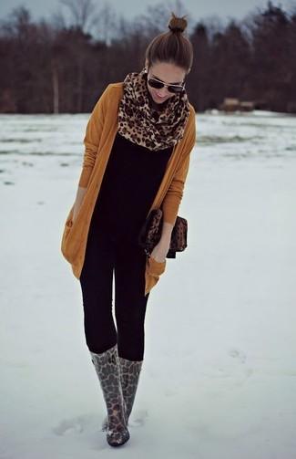Bolso bandolera de cuero de leopardo marrón de Dolce & Gabbana