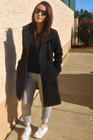 Outfit abrigo negro mujer