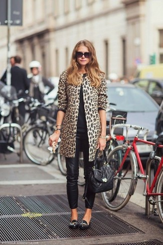 Abrigo de leopardo marrón claro de Marni