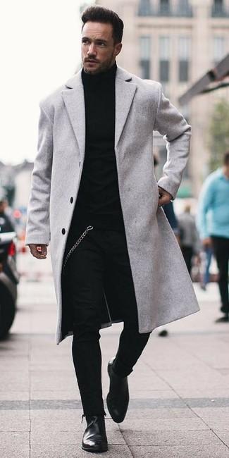 Abrigo largo gris de Hugo Boss