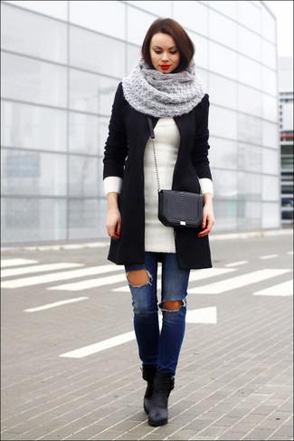 Bufanda de punto gris de Fendi