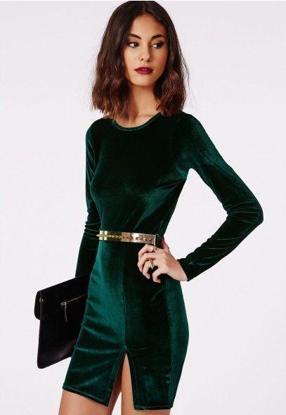 Vestido verde con cinturon negro