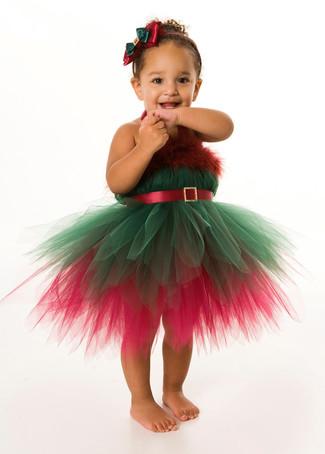 Cómo combinar: vestido de navidad en verde y rojo