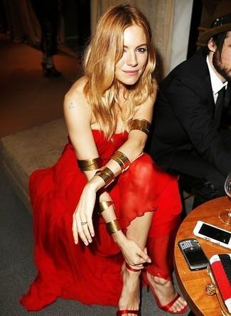 Vestido de noche de gasa rojo sandalias de tacon de seda rojas large 1398