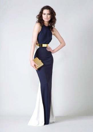 Accede a un refinado y elegante estilo con un vestido de noche azul marino y blanco.