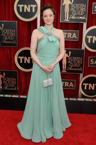 Vestido de noche verde menta cartera sobre con adornos blanca large 8027