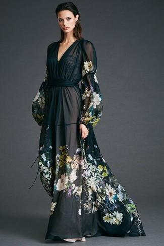 Vestido flores negro largo