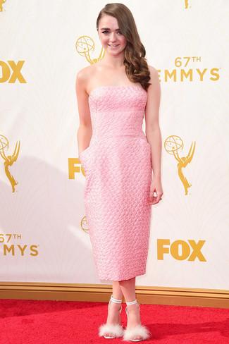 Vestido midi rosado sandalias de tacon de pelo blancas large 13688