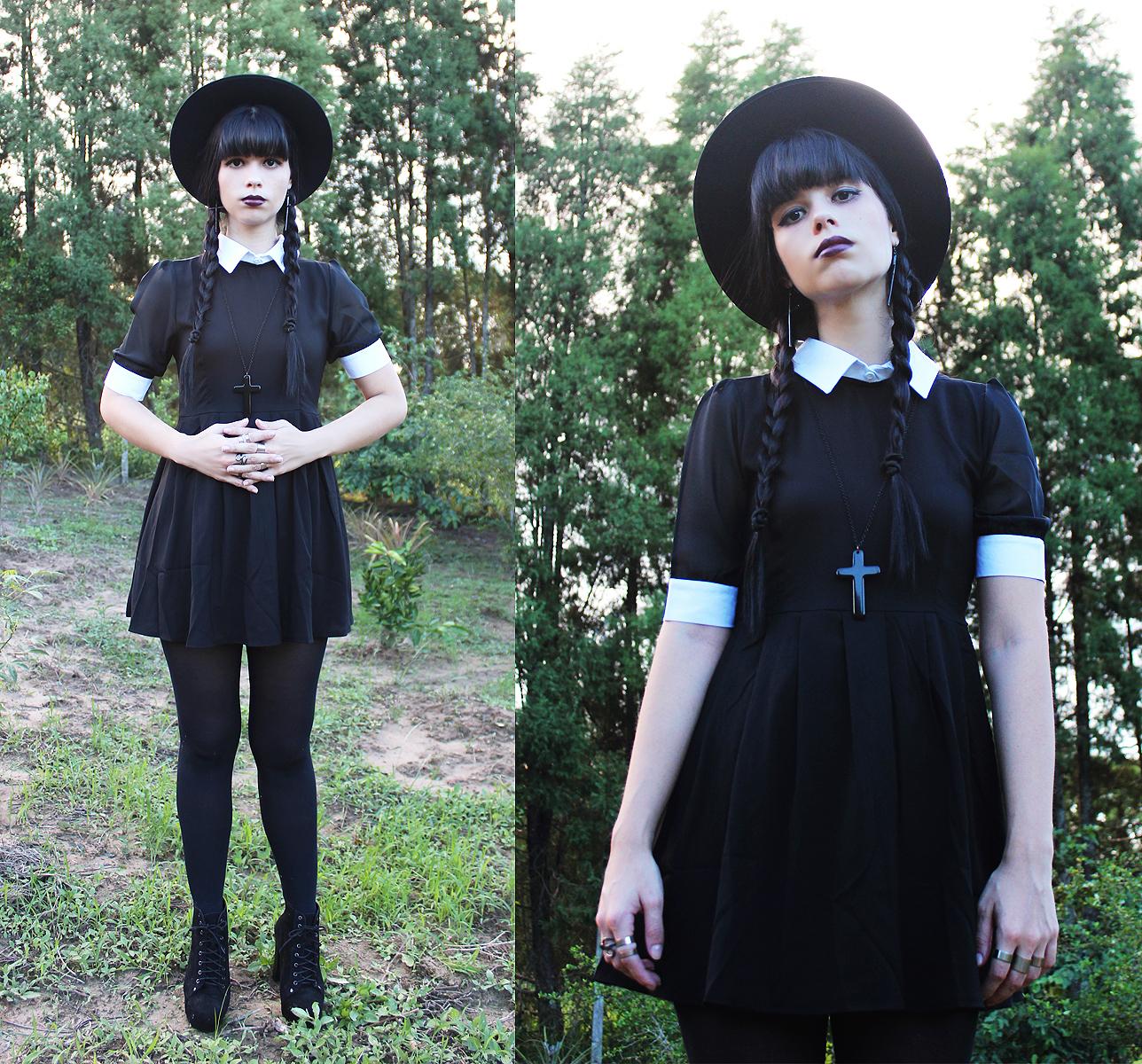 Cómo combinar unas medias negras con un vestido skater negro y ...