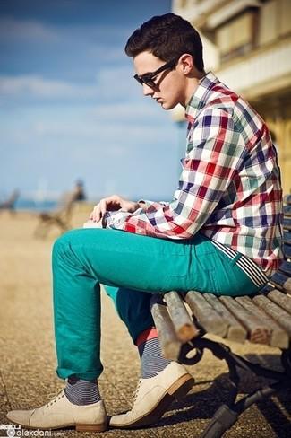 Camisa de manga larga de tartán en multicolor de Marc by Marc Jacobs