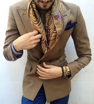 Cómo combinar: pañuelo de bolsillo azul marino, zapatos con doble hebilla de cuero marrónes, pantalón chino azul, camisa de vestir de cuadro vichy azul