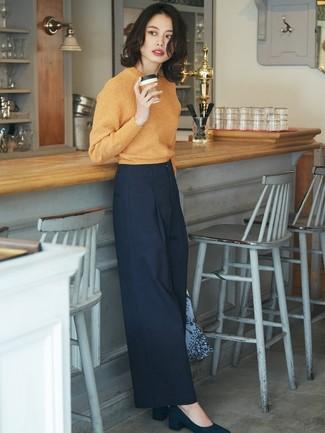 Cómo combinar unos pantalones anchos azul marino (45 looks de moda ... 1b940b603643