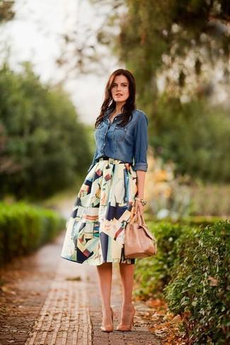 56679f634 Cómo combinar una falda campana en multicolor (3 looks de moda ...