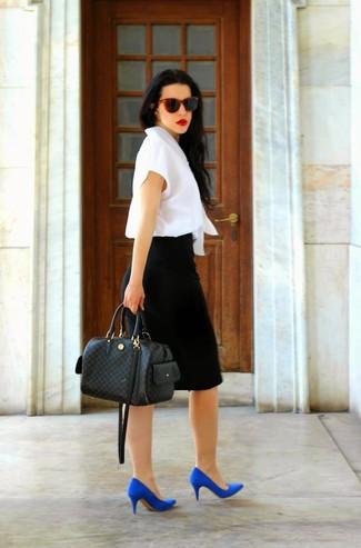 2462147e4 Look de moda: Bolsa tote de cuero a cuadros negra, Zapatos de tacón ...