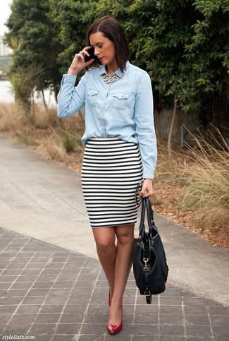 6b121a0bed Cómo combinar una falda de rayas horizontales (62 looks de moda ...