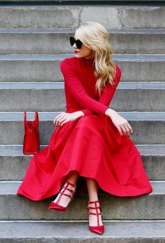 22367bc0b2 Look de moda  Bolso de hombre de cuero rojo