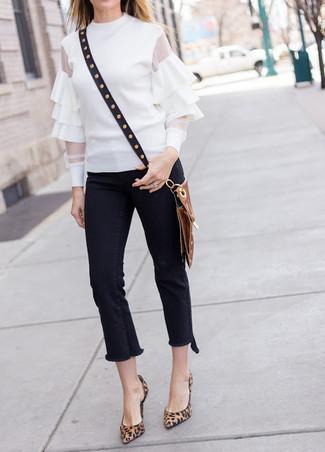 Blusa de manga larga con volante blanca de Lanvin