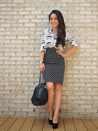 672b7e9a5 Cómo combinar una falda lápiz a lunares en negro y blanco (13 looks ...