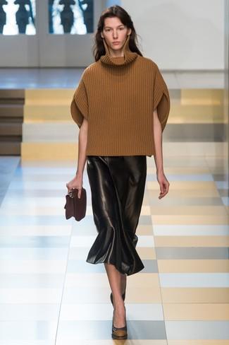 Cómo combinar una falda midi de cuero negra estilo elegante (5 looks ... be50a0800503