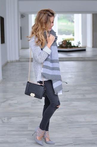 de grises cuero de acolchado tacón bolso de bandolera cuero combinar Cómo negro zapatos npvqf7n