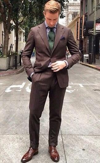 Zapatos derby de cuero marrónes de Johnston & Murphy