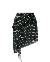 Minifalda a Lunares Negra y Blanca de Saint Laurent