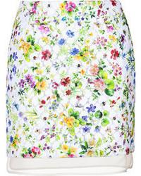 Minifalda con print de flores blanca