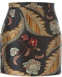 Minifalda con print de flores negra de Dsquared2
