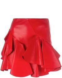 Minifalda con volante roja de Alexander McQueen