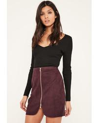 Minifalda de ante burdeos
